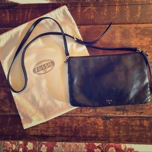 Fossil Black Crossbody Bag with Gold Accents
